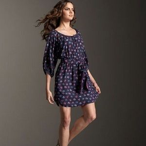 REBECCA TAYLOR Navy Floral Sweet Pea Silk Dress 12